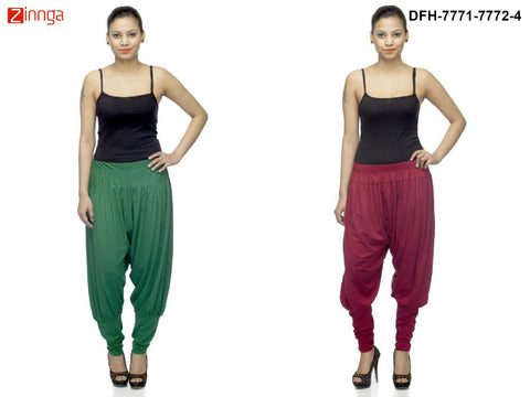 DEEFASHIONHOUSE-Women's Beautiful Pack Of 2 Green and Maroon Viscose Lycra Jodhpur Pants - DFH-7771-7772-4