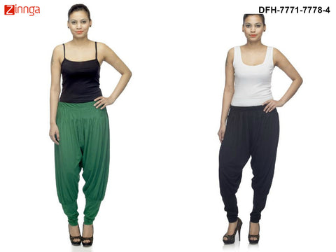 DEEFASHIONHOUSE-Women's Beautiful Pack Of 2 Green and Black Viscose Lycra Jodhpur Pants - DFH-7771-7778-4