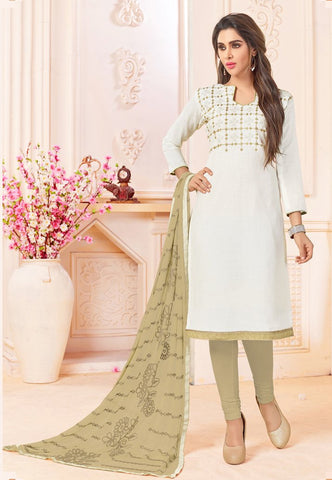 White Color Cotton UnStitched Salwar - DHADAK-4009