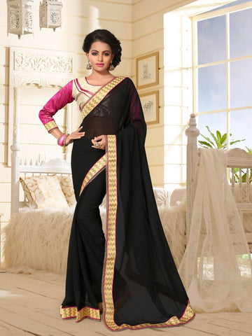 Black Color Georgette Saree  - DHANTERES-451