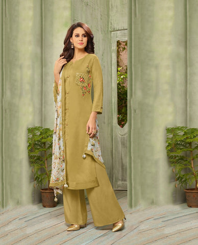 Olive Color Cotton Silk UnStitched Salwar  - DIAN7002