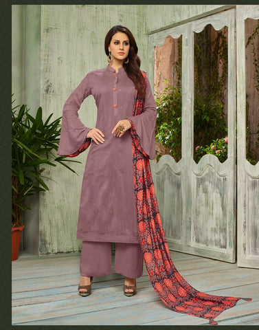 Mauve Color Cotton Silk UnStitched Salwar  - DIAN7005