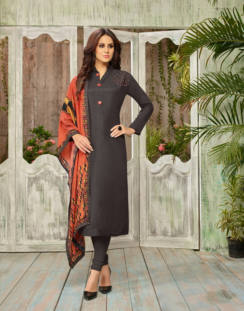 Buy Black Color Cotton Silk UnStitched Salwar