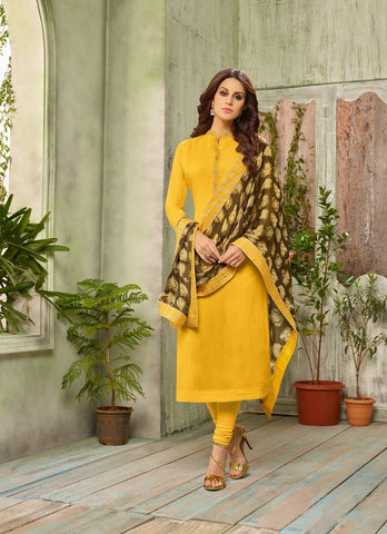 Yellow Color Cotton Silk UnStitched Salwar  - DIAN7008