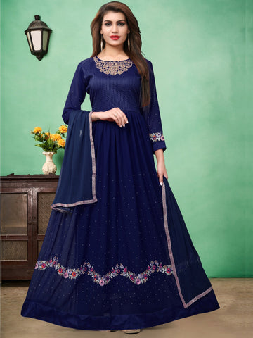 Blue Color Faux Georgette Semi Stitched Salwar - DIBL67ABLUE
