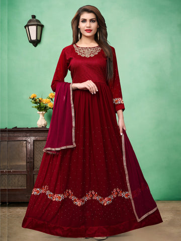 Red Color Faux Georgette Semi Stitched Salwar - DIBL67ARED
