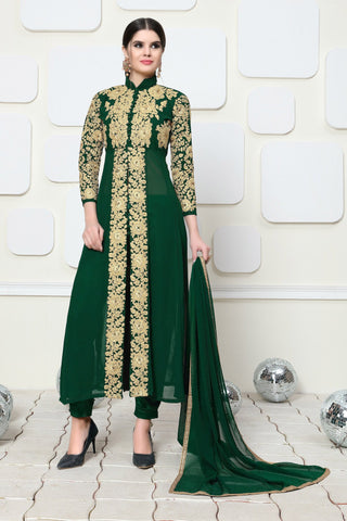 Green Color Faux Georgette Semi Stitched Salwar - DIBL82AGREEN