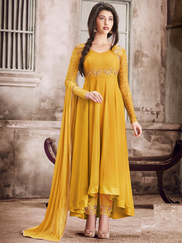 Yellow Color Faux Georgette Semi Stitched Salwar - DIBL87A1135