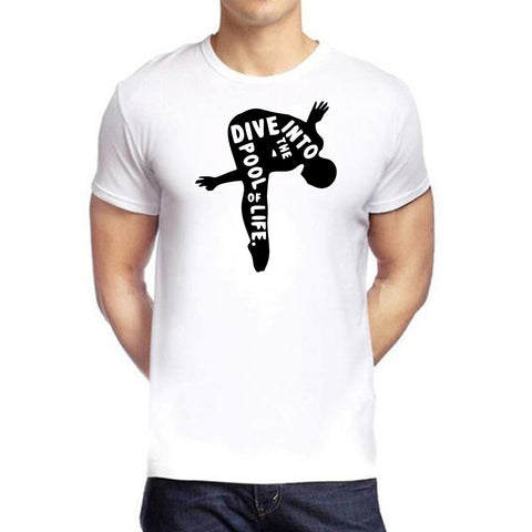 White Color polyester Men's Tshirt - DIGI6044