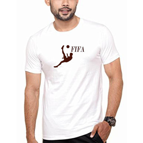 White Color polyester Men's Tshirt - DIGI6266