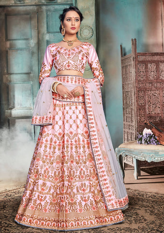 Light Pink Color Nylon Satin Semi Stitched Lehenga - DN102