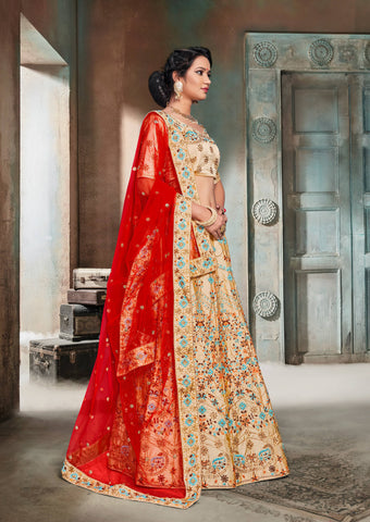 Beige Color Nylon Satin Semi Stitched Lehenga - DN103