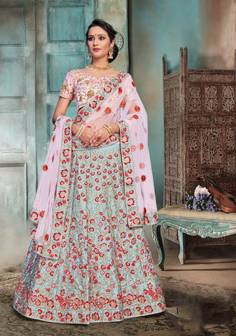 Sky Blue Color Nylon Satin Semi Stitched Lehenga - DN104