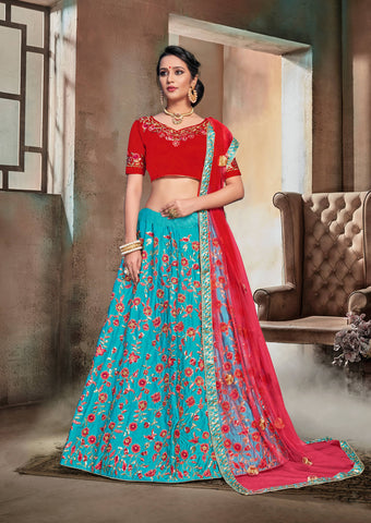 Firozi Color Nylon Satin Semi Stitched Lehenga - DN105