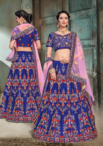 Navy Blue Color Nylon Satin Semi Stitched Lehenga - DN106