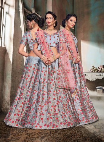Grey Color Nylon Satin Semi Stitched Lehenga - DN107