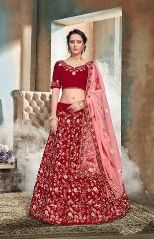 Maroon Color Nylon Satin Semi Stitched Lehenga - DN108