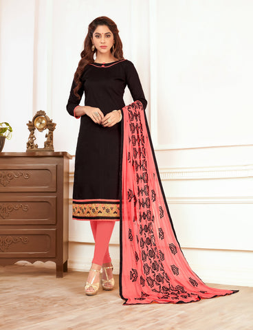 Black  Color Cotton Un Stitched Salwar Kameez - DN46441
