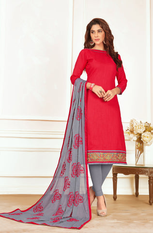 Red  Color Cotton Un Stitched Salwar Kameez - DN46447