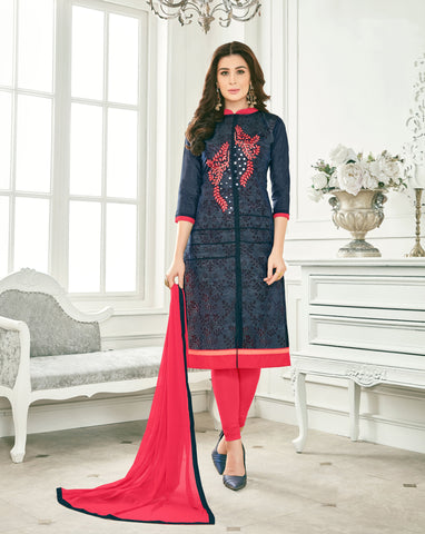 Black Color Cotton Un Stitched salwar Kameez - DN46459