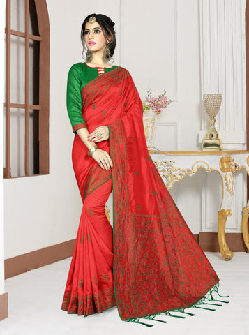 Red Color Mirekal Silk Saree - DNO-1433