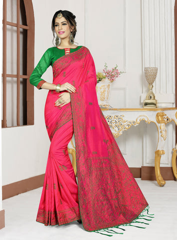Gajari Color Mirekal Silk Saree - DNO-1434