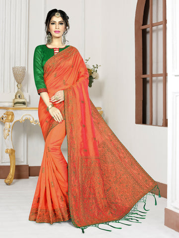Orange Color Mirekal Silk Saree - DNO-1439