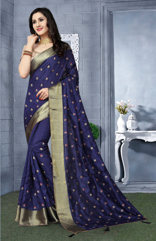 Navy Blue Color Kanchi Silk Saree - DNO-1441