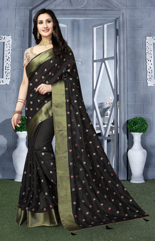 Black Color Kanchi Silk Saree - DNO-1443