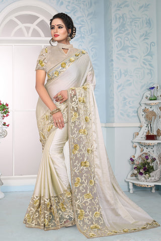 Off White Color Silk Saree - DNO-1451
