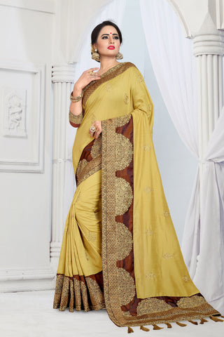 Yellow Color Vicitra Silk Saree - DNO-1461