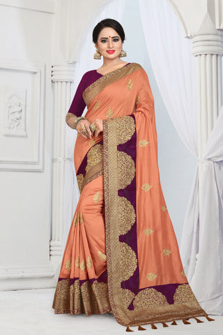 Orange Color Vicitra Silk Saree - DNO-1464