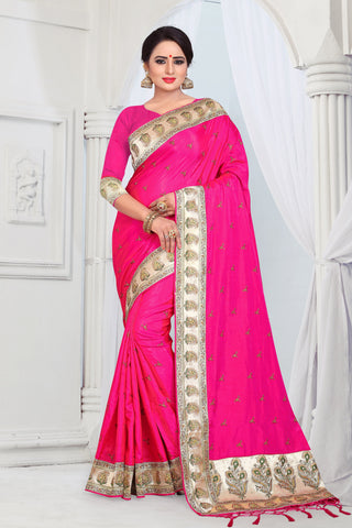 Pink Color Sana Silk Saree - DNO-1473