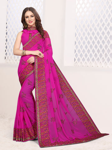 Rani Pink Color Georgette Saree - DNO-1671