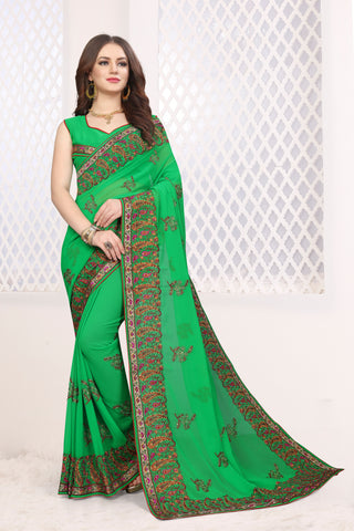 Parrot Green Color Georgette Saree - DNO-1673