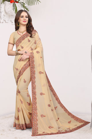 Chiku Color Georgette Saree - DNO-1677