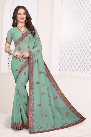 Dusty Pista Color Georgette Saree - DNO-1679