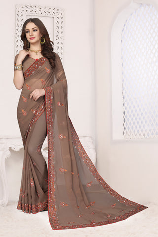 Dusty Chiku Color Georgette Saree - DNO-1680
