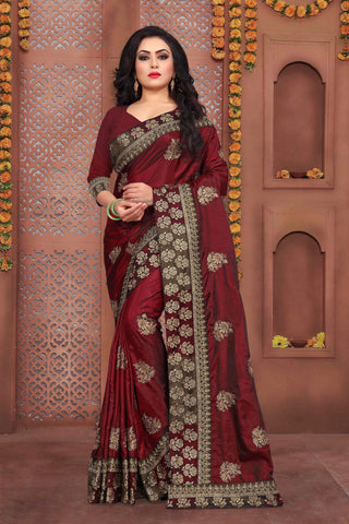 Maroon Color Sana Silk Saree - DNO-331
