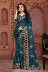 Teal Blue Color Sana Silk Saree - DNO-332