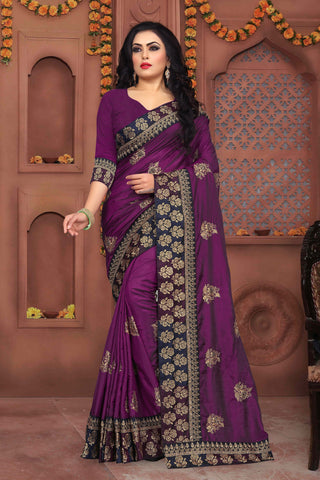Magenta Color Sana Silk Saree - DNO-333