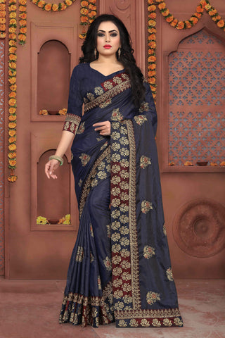 Dark Grey Color Sana Silk Saree - DNO-334