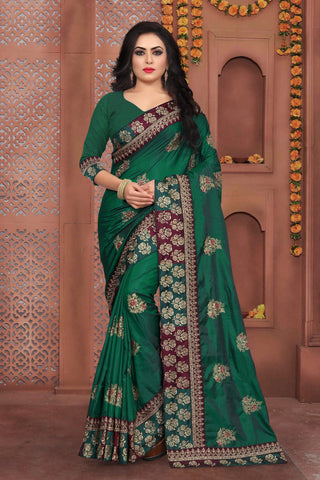 Green Color Sana Silk Saree - DNO-335