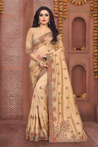 Cream Color Sana Silk Saree - DNO-336