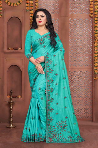 Sky Blue Color Sana Silk Saree - DNO-337