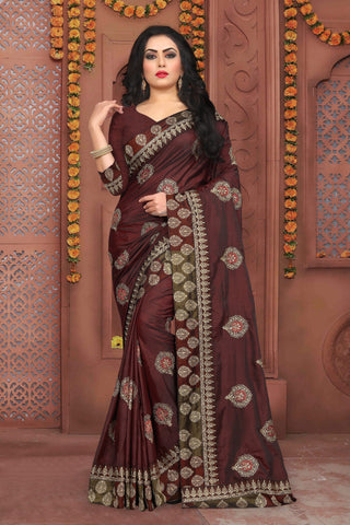 Brown Color Sana Silk Saree - DNO-340