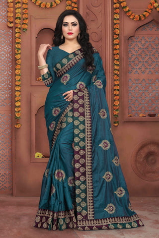 Teal Blue Color Sana Silk Saree - DNO-341