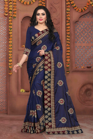 Navy Blue Color Sana Silk Saree - DNO-343