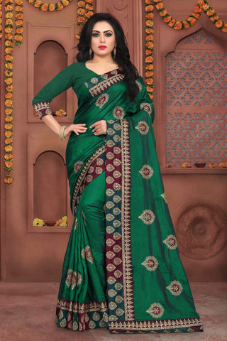 Green Color Sana Silk Saree - DNO-344