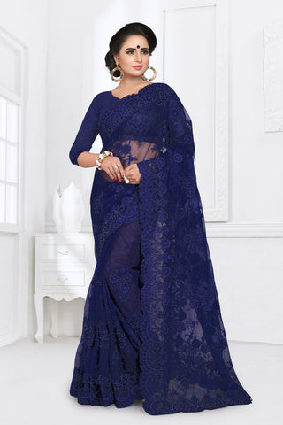 Navy Blue Color Net Saree - DNO-352